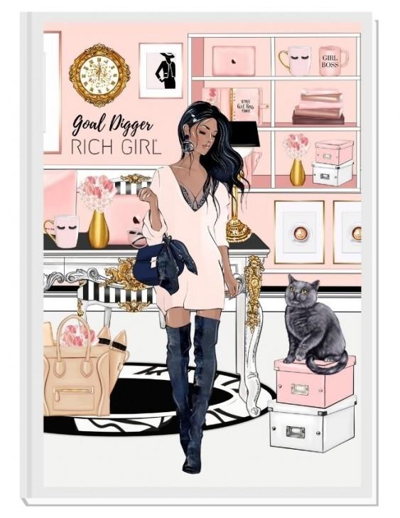 GOAL DIGGER (brunette) - дизайнерски RICH GIRL планер, датиран за 2021 г.