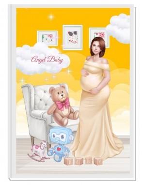 ПЕРСОНАЛИЗИРАН ДНЕВНИК НА БЪДЕЩАТА МАМА - ANGEL BABY3: LOVE (yellow/red)