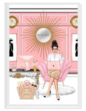 LOVE MY LIFE (brunette) - дизайнерски RICH GIRL планер, датиран за 2021 г.