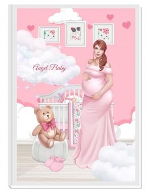 ПЕРСОНАЛИЗИРАН ДНЕВНИК НА БЪДЕЩАТА МАМА - ANGEL BABY2: EXCITEMENT (pink/red)
